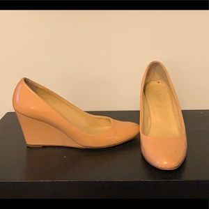 J.Crew nude patent wedge size 7
